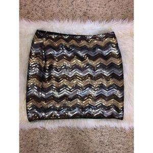 Forever 21 Metallic Sequin Chevron Mini Skirt